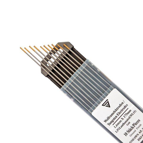 Tungsten Electrodes 1,6 x 175 mm WL15 gold 10 pieces