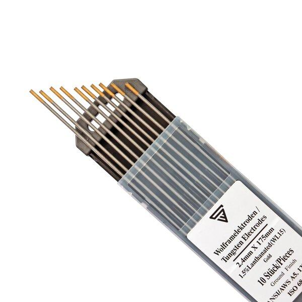 Tungsten Electrodes 2,4 x 175 mm WL15 gold 10 pieces