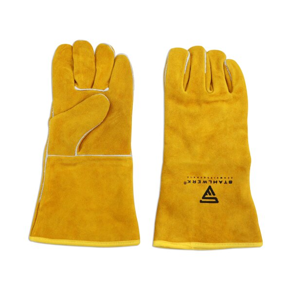Protective leather welding gloves thick