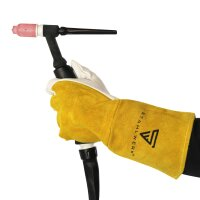 Protective leather welding gloves