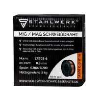 MIG MAG welding solid wire ER70S-6 SG3 Ø 0,8 mm S200/D200 spool 5 kg